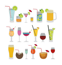 tropical cocktails set icons vector image