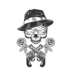 Vintage gangster skull in fedora hat vector