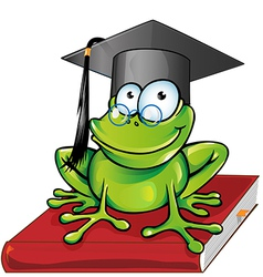 Wise frog cartoon vector