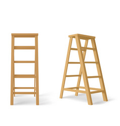 Wooden stepladder tall stair with stand for tray vector