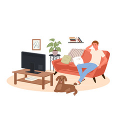 Young man watching tv news movie film at home vector