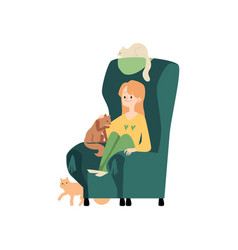 young woman sits in cozy armchair with cats and vector image