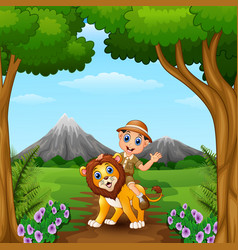 Zookeeper boy and a lion in jungle vector