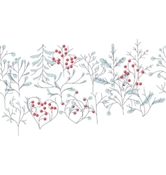 Endless pattern brush with contour winter trees vector image