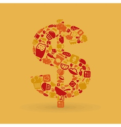 Food dollar vector image