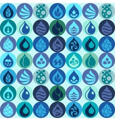 Seamless pattern with water icons in flat design vector image vector image