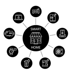 smart home concept with thin line icons vector image vector image