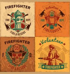 vintage firefighting emblems set vector image