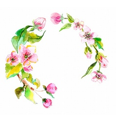 Watercolor apple flowers wreath vector image
