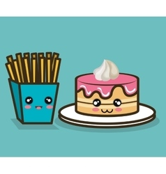 cake and fries cartoon food fast design graphic vector image