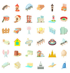 Construction material icons set cartoon style vector