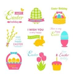 Easter Set - rabbit basket eggs ribbon pussy vector image