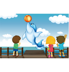 Kids and dolphin vector image vector image