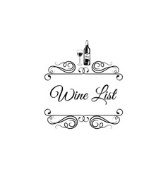 menu wine design wine bottl glass swirls vector image