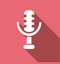 microphone icon with a long shadow vector image vector image