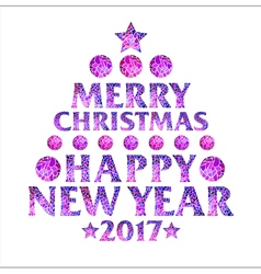 Mosaic inscription in the form of a Christmas tree vector image