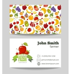 Organic fruits farmer business card template vector image