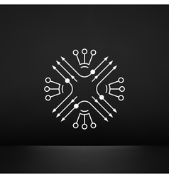 Scheme Abstract sign with ArrowsnCircles Dots vector image