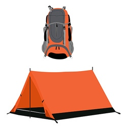 Campimg tent and backpack vector image