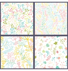 Set of floral seamles patterns vector