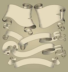 vintage ribbons set vector image vector image