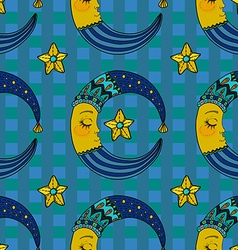Doodle Moon seamless pattern for children design vector image