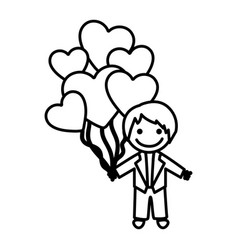 figure bridegroom with red heart balloons in his vector image