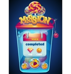 mission completed window vector image vector image