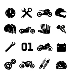 Motorbike motorcycle race and spare parts vector