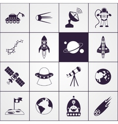 Space Icons Black vector image