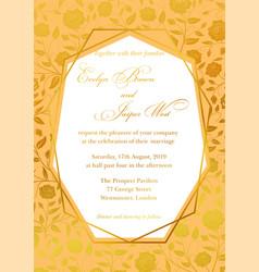 wedding invitation luxury roses floral invite vector image vector image