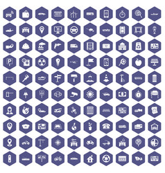 100 car icons hexagon purple vector