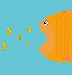 a fish eat dollars icon business concept vector image