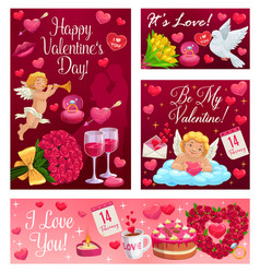 Be my valentine happy love and hearts day vector
