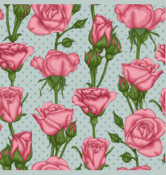 beautiful seamless pattern rose buds leaves stems vector image