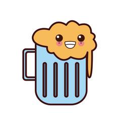 beer glass cup kawaii cute cartoon vector image