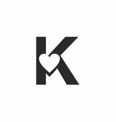 Black k letter with love sign logo vector