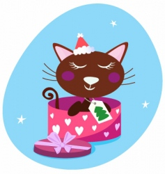 brown christmas cat in box vector image