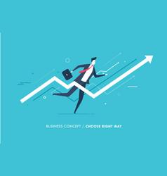 businessman runs forward to success growth charts vector image