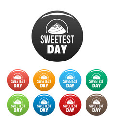 caramel sweet day icons set color vector image