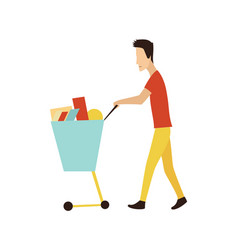 cartoon shopping people with bags set sale vector image