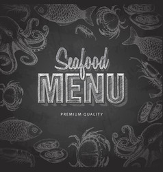 Chalk drawing typography seafood menu design vector
