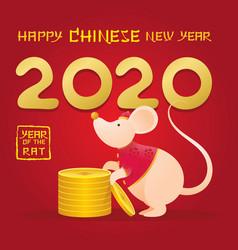 Chinese new year 2020 year rat cartoon vector