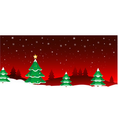 Christmas trees greeting card vector
