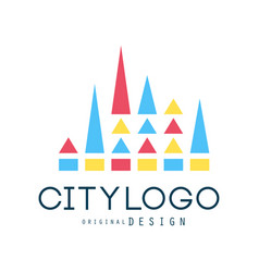 city logo design abstract geometric element vector image