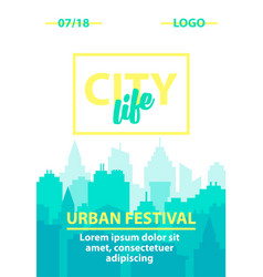 city skyline background poster template with vector image