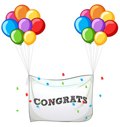 Colorful balloons with banner for word congrats vector