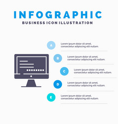 Computer monitor text education infographics vector