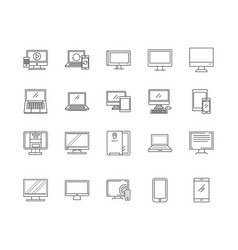 computers line icons signs set outline vector image