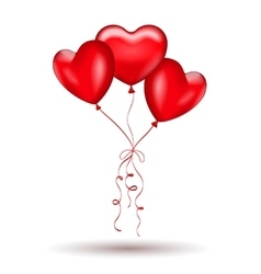 Copula of red gel balloons in the shape of a heart vector